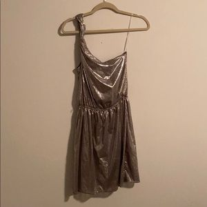 Silver metallic one strap mini dress
